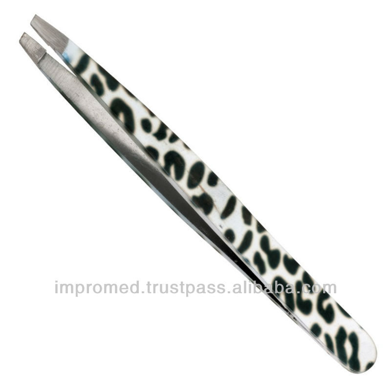 Professional Beauty Salon Eyebrow Slanted Pink Tweezers
