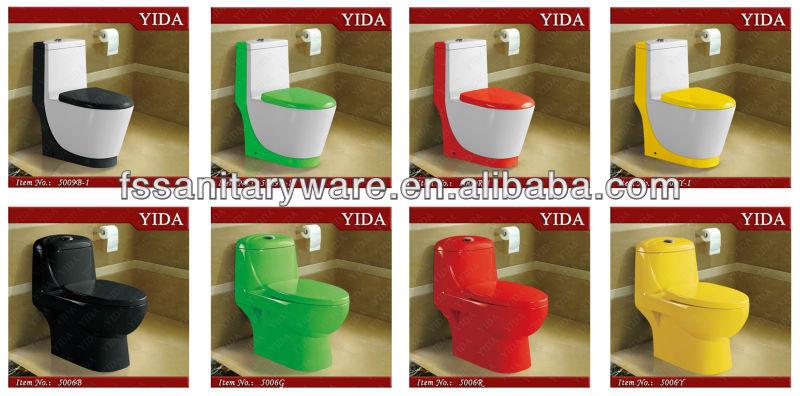 Taza De Baño One Piece:Black Color Toilet Bowl_sanitary Ware _colorful Toilet Bowl_new Design
