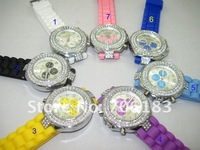 Наручные часы Latest Geneva Silicone Watches with 3 Un-moved Chorographs, Good Movement, High Quality, 10pcs/lot