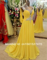 Платье на студенческий бал Beautiful Style V-Neck Crystal Beaded A-Line Floor-Length Yellow Long Evening Gown Prom Dress Real Picture