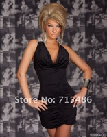 Party Costume Outfit Stunning Halter Mini Dress Sexy Lingerie Purple Deep V Fashion Dresses