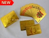 Новый стиль доллару золотой фольги игральные карты с деревянной коробке
