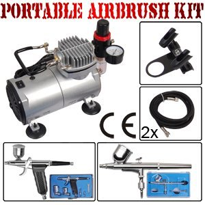 2 DUAL ACTION AIRBRUSH TATTOO NAIL CAKE COMPRESSOR KIT     #1590
