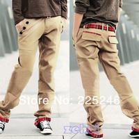 мода мужчины мальчика хлопок проверить тощий/slim прямо подходят длинные брюки брюки jx0024 & drop Доставка