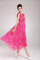 Одежда и Аксессуары High Quality new Senior Chiffon Rose put on a large elegant dress peach dress summwe women's bohemian maxi evening dress