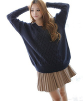 Женский пуловер 2013 new autumn and winter retro twist round neck loose sweater candy colors
