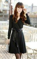 All Matching Fashion Deep V Collar Pure Color half  Sleeve Lycra Long Dress Free Shipping