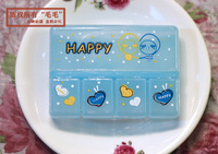 Коробка для хранения High quality cute little five grid portable kit jewelry box portable medicine box to do an independent and transparent cover