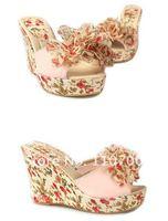 Туфли на высоком каблуке 1 pair can available New flower Wedges slippers beautiful princess wedges sandal high heel shoes