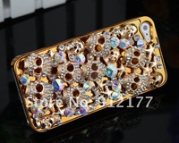 Чехол для для мобильных телефонов Luxury SKULL Flower Design Reinestone Bling Chrome Plated Hard Case Cover for iPhone 5 5th