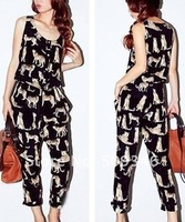 Fashion Summer Women Ladies Panther Leopard Animal Print Sleeveless Long Jumpsuits Rompers Round Neck M L