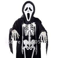 EMS, Новая мода Хэллоуин костюмы партии, скелет призрака одежду + маска + кость перчатки, подарок 20sets