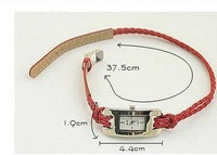 Chromatic lady's leather fashion lady's  rope watch,bracelet watch,with hand-knitted cord watchband,free shipping( A167)