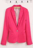Free shipping new Womens Tunic Foldable sleeve candy Color lined striped Blazer Jacket shawl cardigan Coat one button