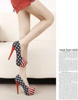 2013 Ladies High Heel Dress Shoes Women Platform Pumps Denim Upper with American flag pattern size 35-40 wholesale