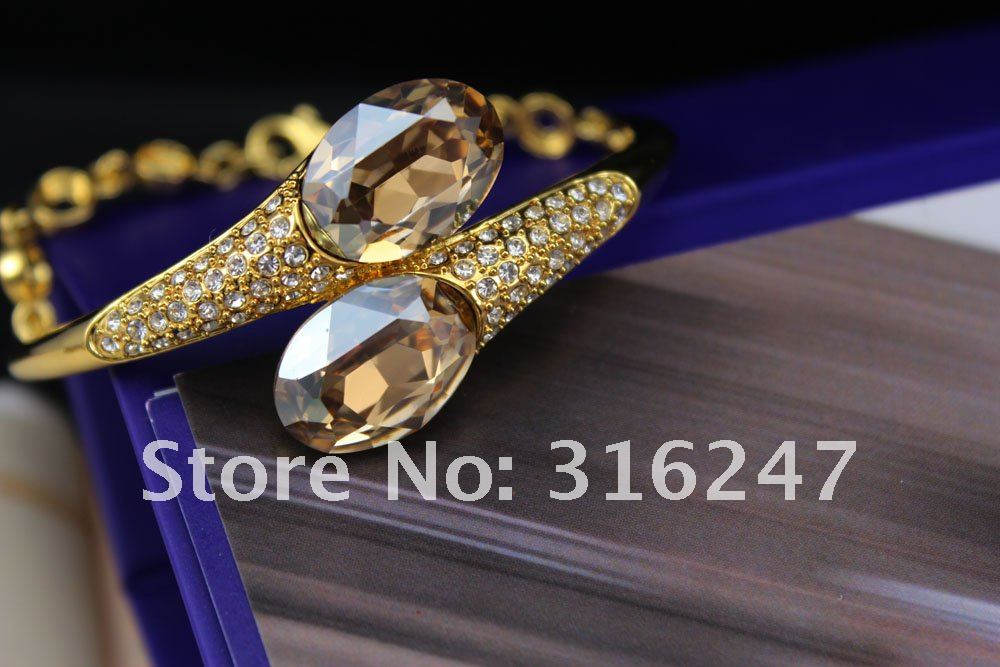 Free shipping High Quality Amethyst swarovski egg shaped Gold Bracelet Bangles wholesale Silver Snake shaped Bangle