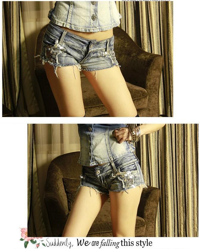Женские шорты New High Waist shorts women denim Denim Printed Pants Sexy Summer New Holes In Jeans Shorts NZDK06
