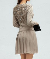 Женское платье New Elegant OL Lady Sweet Bowknot Sequins Flower Long Sleeve Mini Dress CasualE0885