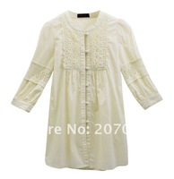 Женская одежда free shipping ladies fashion blouse lace on placket and sleeve /plus/size blouse newly blouse