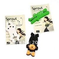 retail Cute cartoon animal sprout wrap cable wire tidy earphone winder Organizer holder for headphone MP3, MP4