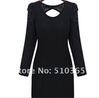 Женское платье 2013 New lace split joint back holloe out sexty women dresses n566