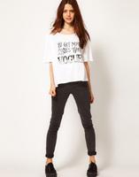 Женская футболка New Summer Womens t-shirt Handwritten VOGUE White Round Collar Half Sleeve Cotton Tshirts Tops XXL Plus Sizes