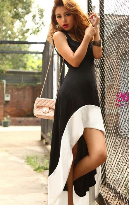 Черно-белое платье с хвостом