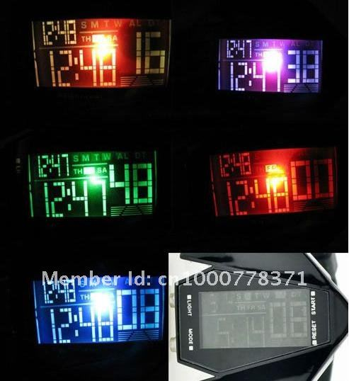 Free shipping 50pcs/lot digital LED invisible bomb carrier watch plane style, sports jelly waterproof watches