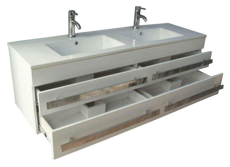 Nuovo stile di legno doppio lavello mobili per il bagno - Doppio lavello bagno ...