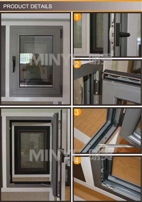 ALUMINUM PROFILE CASEMENT WINDOW WITH TRANSOM
