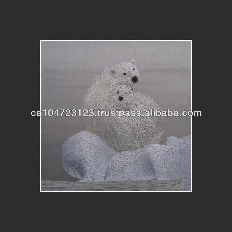 34120-Polar Bear and Her Cub on Ice--Susho, King Silk Art 100% Handmade Silk Embroidery