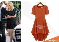 Женское платье 2013 new elegant novelty puff sleeve casual women chiffon swallow tail dress A7315