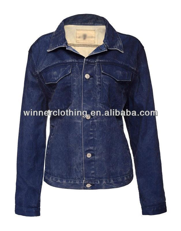Fashion Plain Design Long Sleeve Washed Blue Bench Women Jacket Jeans