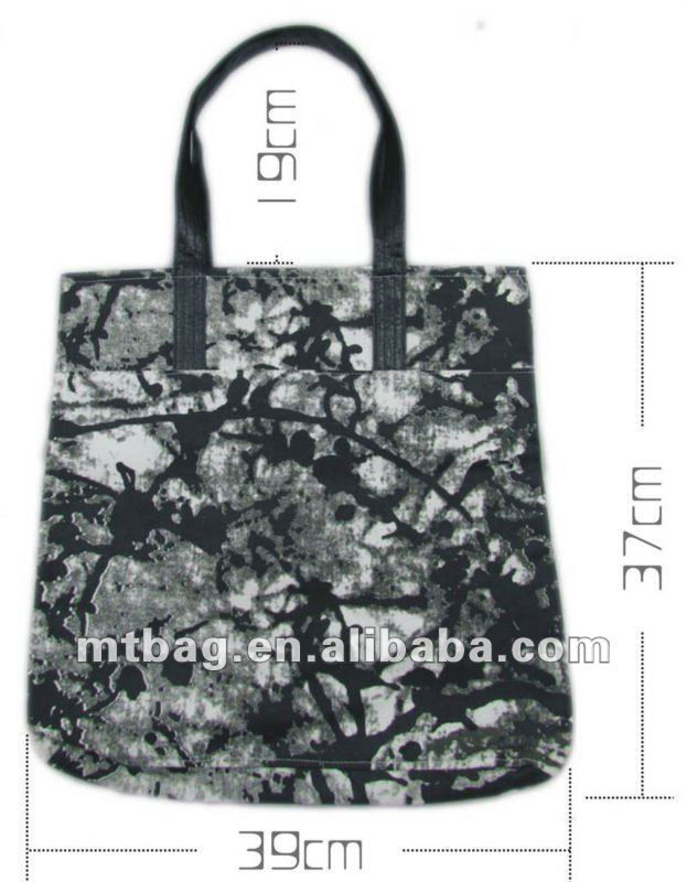 High quality wholesale full printed leather handle cotton canvas tote bag