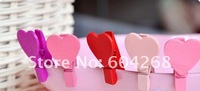 Зажимка для развешенного белья NEW cute Wooden small Heart clip / Fashion Korean Style/creative Gift/ 180pcs/lot