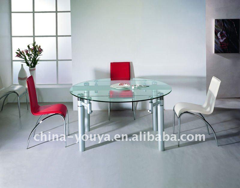 Moderno extensible mesa redonda de comedor y silla de comedor ...