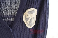 Женский кардиган Preppy style badge vintage twisted autumn and winter sweater cardigan
