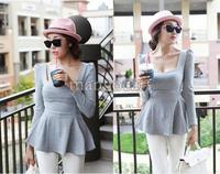 Женская футболка Women New Tops Blouse Puff Long Sleeve Peplum Empire Waist Cute Slim Shirt Sexy 4 Colors Drop Shipping SV000391 #003