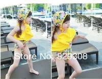 2014 new  girl  swimsuit bikini children  bathing suit one-piece floral yellow  Child  Girls  Bikini free shipping