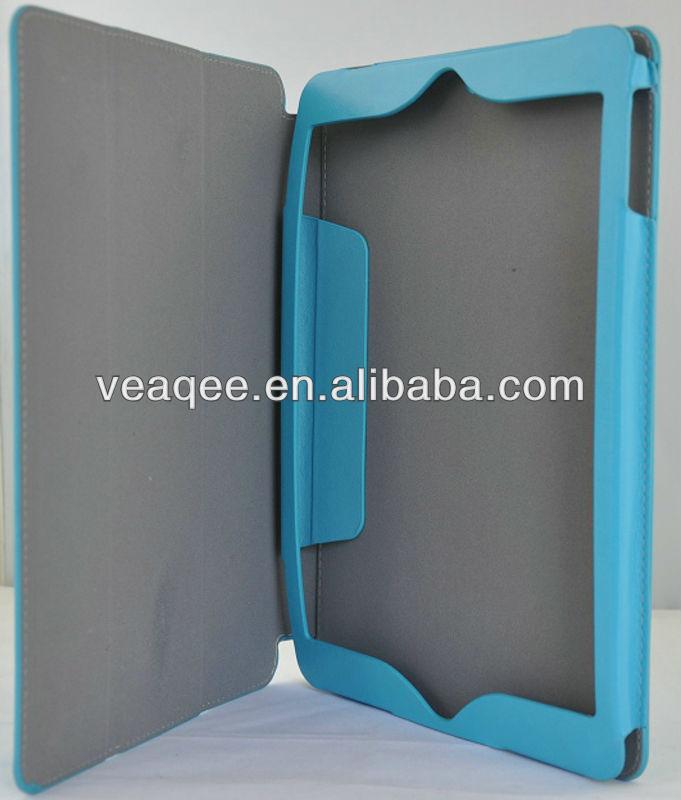 portable blue color pu leather flip case for ipad5