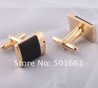 Запонки и зажимы для галстука 24K gold plated Mens Cufflink Cufflink w/black enamel CXSF001