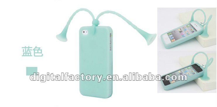2012 Unique New Design Cheap Protective Silicon Case for Iphone 4 /4s-Blue color