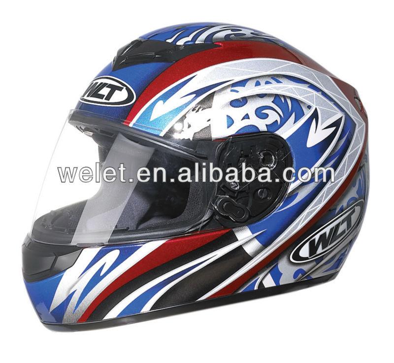 ECE helemt, Full face helmet, Crash helmet WLT-101 Whit/Blue 1#