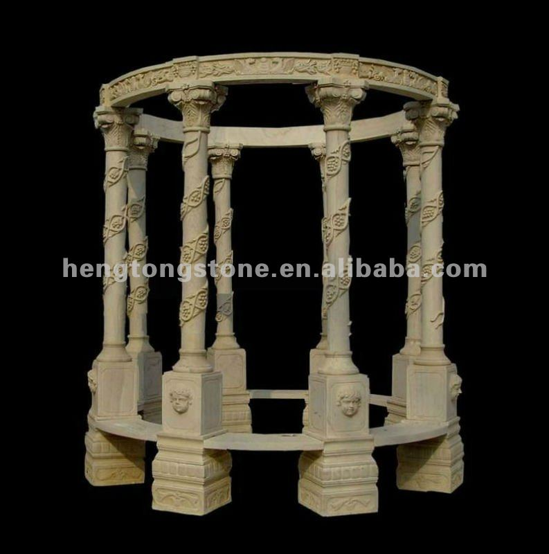 Sunset Red Marble Gazebo Octagonal, with 6 Grace Lady Sculpture Column and Wrought Iron Dome