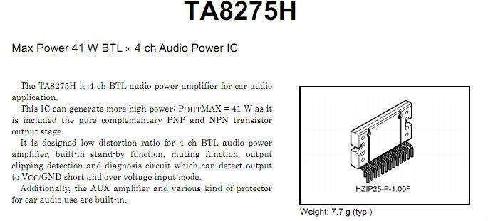 Ic TA8275HQ TA8275H TA8275