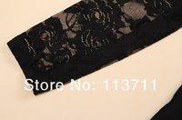 Женское платье Ladylike Scoop Neck Lace Splicing Skinny Long Sleeves Elegant Cotton Blend Dress For Women
