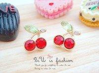 Серьги-гвоздики Super good lovely red cherry ear hammer earrings for women A E0369
