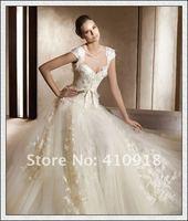 free shipping women's sexy lace wedding dress organza Ball Gown floor length custom made
