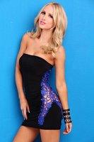1pac/lot New sexy black lace mini dress Clubwear  free shipping size XS-M w1072