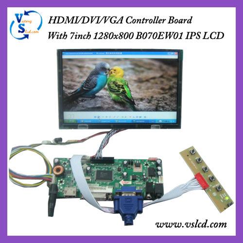 """7"""" tft 1280x800 lcd B070EW01+HDMI+DVI+VGA Board"""